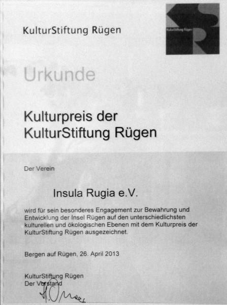 Urkunde Kulturpreis der KulturStiftung Rügen