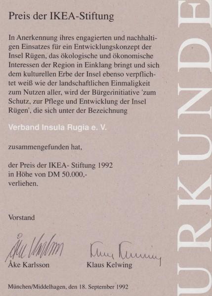 Verleihungsurkunde Preis der IKEA-Stiftung
